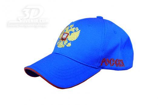 Бейсболка синяя с российским гербом_3dsuvenir com