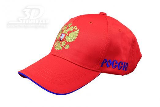 Бейсболка красная с российским гербом_3dsuvenir.com