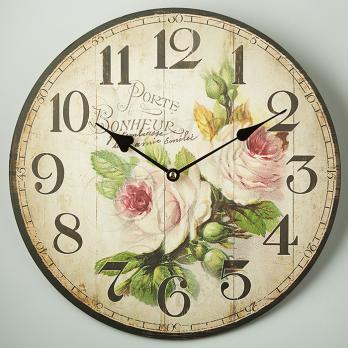 Часы настенные Розовые розы прованс круглые