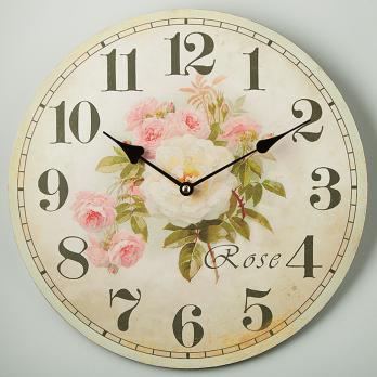 Часы настенные круглые Роза прованс